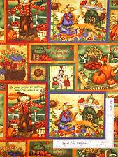 Angel Scarecrow Apple Sunflower Cotton Fabric SPX Harvest Angels #24828- Yard