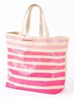 Victoria's Secret Ombre Pink Stripe Sequin Shoulder Bag Purse Large Tote Canvas