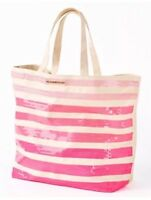 Victoria's Secret Ombre Pink Stripe Sequin Shoulder Bag Purse Large Tote Canvas