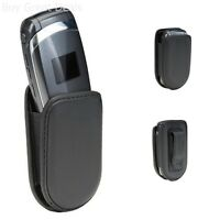 Universal Fit Flip Cell Mobile Phone Case Black Leather Cover Pouch Belt Clip