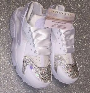 White Nike Huaraches UK 4 Crystal Nike Swarovski Nike Diamond Nike ... 347eb24b5