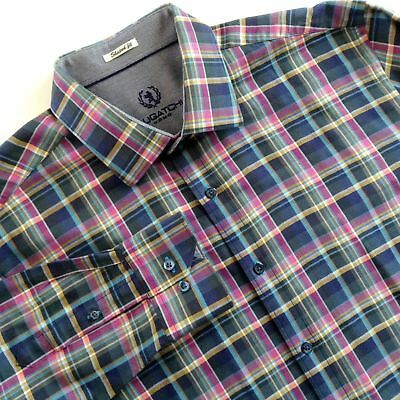 Bugatchi Mens Tailored Fit Pink Plaid Long Sleeve Button Down Collar Shirt