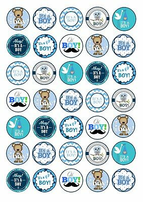 24 X ITS A BOY  EDIBLE CUPCAKE TOPPERS CAKE RICE PAPER BB3