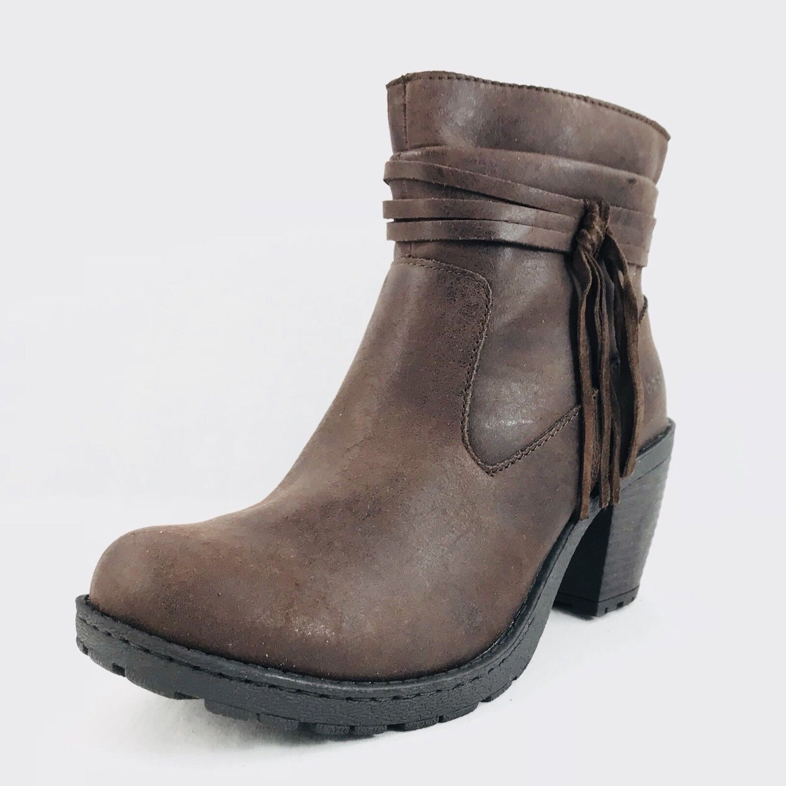 Born Concepts B.O.C. Alicudi Tassle Ankle Bootie Brown Womens Sz 8.5