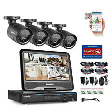 SANNCE 4CH 1080N DVR Built in LCD Monitor 720P Home Security Camera System Video