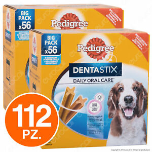Pedigree Dentastix Medium per l'igiene orale del cane - 2 Confezioni da 56 Stick