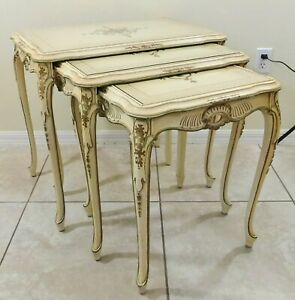 Set 3 Antique/Vtg French Provincial Ivory & Gold Wood Nesting Accent Tables