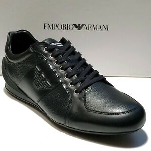 Armani-Black-Men-039-s-Sneakers-Sport-Oxford-Leather-Shoes-X4X134-Casual-Fashion