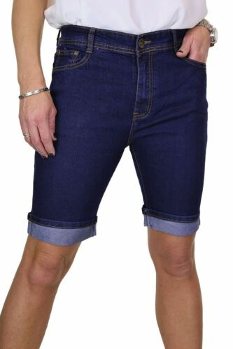 ICE Stretch Denim Jeans Shorts Contrast Turn Cuff Indigo Blue 10-20