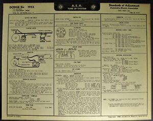 1952 Dodge Six Tune Up Chart Wiring Diagram Coronet Meadowbrook Wayfarer,  Wagon   eBayeBay