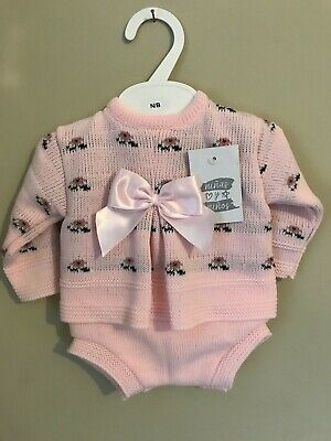 Baby Girls Spanish Knitted Jam Pants Romper Outfit Pink White Floral 0-12M