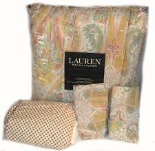 RALPH LAUREN QUEEN COMFORTER SET William Paisley Coral 4PC NWT COTTON Blue Green