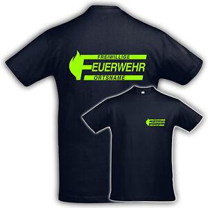 T Shirt Shirt Volunteer Fire Brigade Place Name Logo2 Neon
