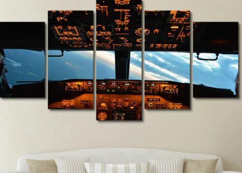 Aircraft Cockpit Sky View Plane 5 Pieces Canvas Wall Art Poster Print Home Decor
