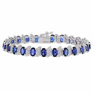 Amour-Sterling-Silver-Created-Blue-Sapphire-and-Diamond-Accent-S-Link-Bracelet