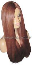 "Remy Human Hair Wig Glueless Full Lace 22"" Long Straight Auburn Red 33 Moklox UK"