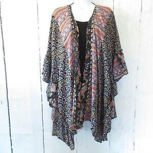New Angie Kimono 1X Black Floral Aztec Paisley Ruffle Boho Peasant Plus Size
