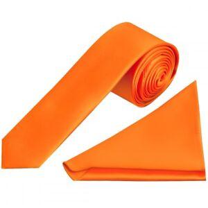 Aufstrebend Plain Orange Satin Skinny Mens Tie And Pocket Square Set Wedding Tie Entlastung Von Hitze Und Sonnenstich Sonstige