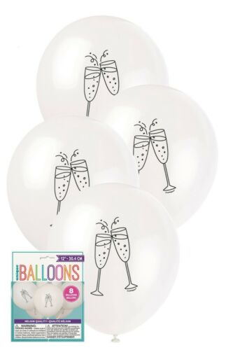 8 x Champagne Wedding Engagement Party White Balloons Decoration 30cm Helium
