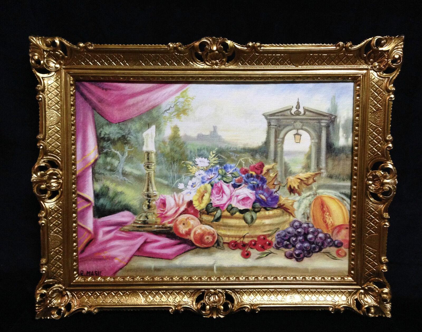 Gemälde mit Obst und Blaumen Bilder Gedeckte Tisch 90x70 Bild mit rahmen 01-01 G