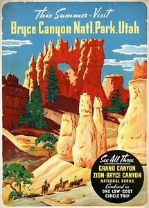 Vintage-Illustrated-Travel-Poster-CANVAS-PRINT-Bryce-Canyon-Utah-24-034-X18-034