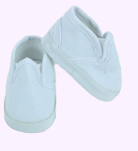 "18/"" Cute White Canvas Slip on Shoes Fits American Girl Boy Doll Logan KNC"