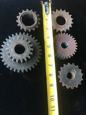 Lot Of 7 Industrial Machine Steampunk Pulley Gear Cog Lamp Base