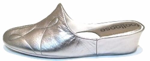 Footloose spagnoli ammortizzato Relax Silver Pantofole zeppa Comfort acciaio in con in pelle by zFYqwUd