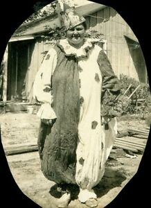 Vintage 1930's Old Photo of Fat Obese Woman Wearing Haloween Clown Costume