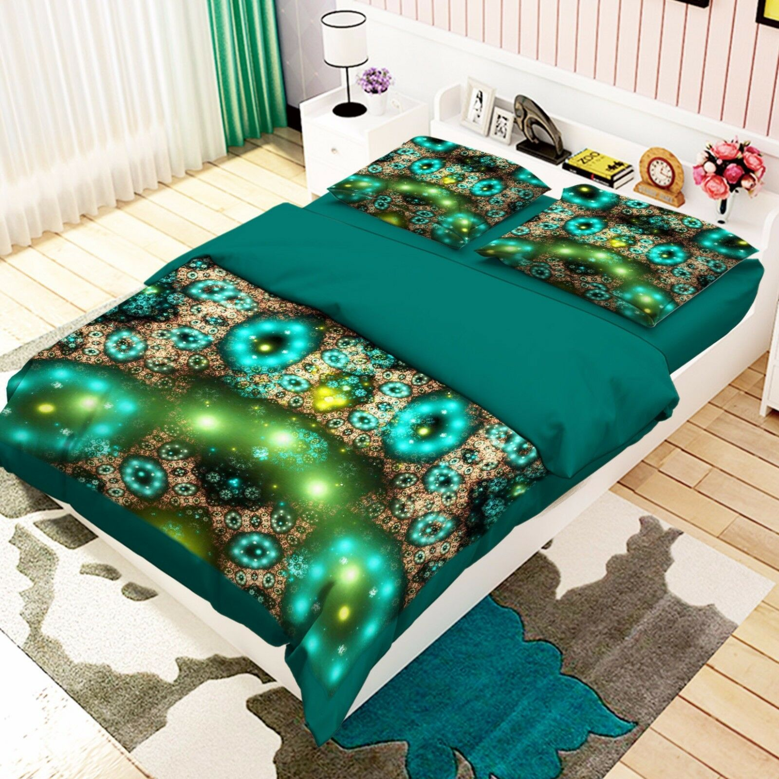 3D Grün Light Gem 451 Bed Pillowcases Quilt Duvet Cover Set Single Queen CA
