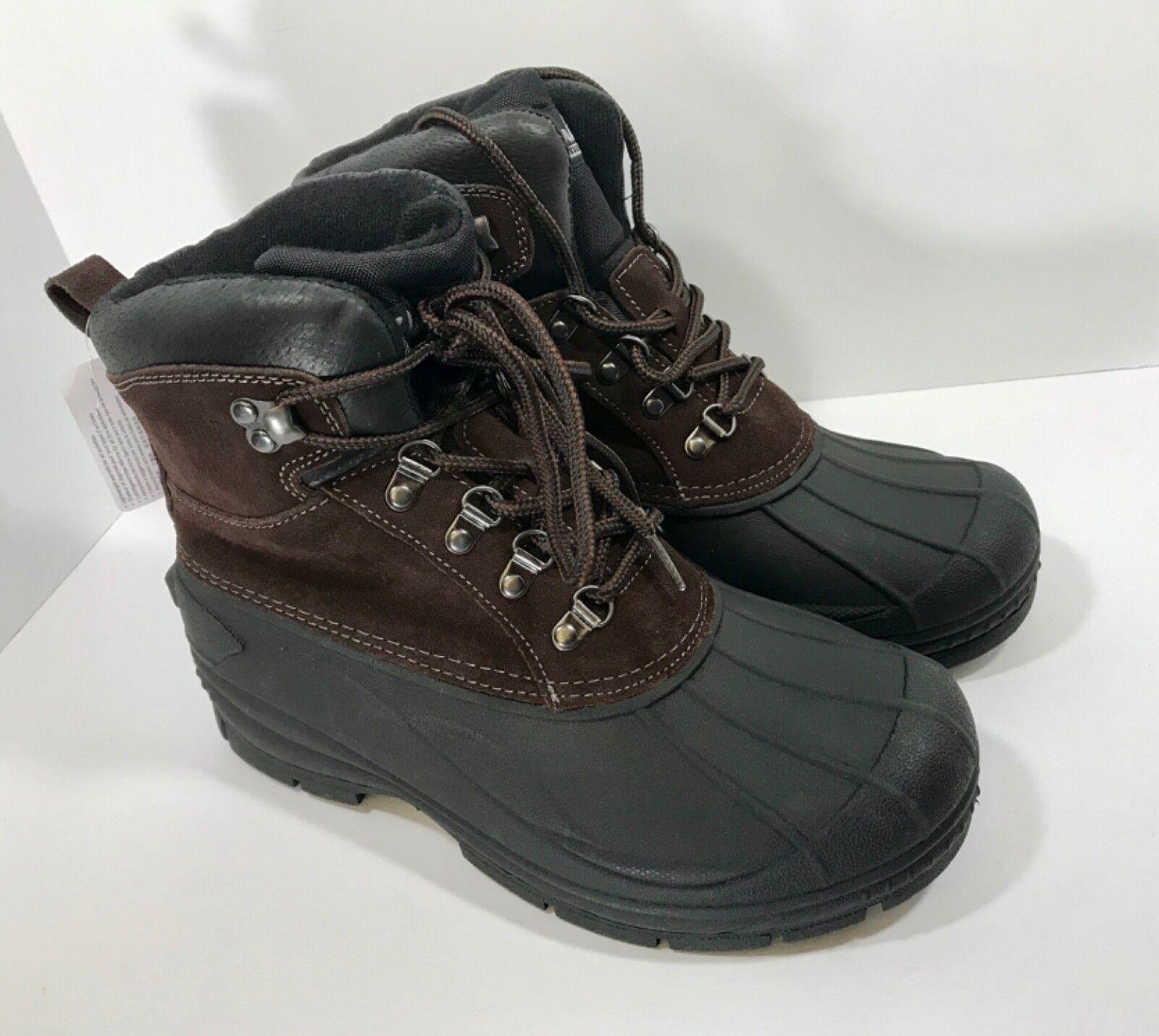 New Clarks Waterproof Winter Duck Boots Men's Size 8 Black Brown Suede
