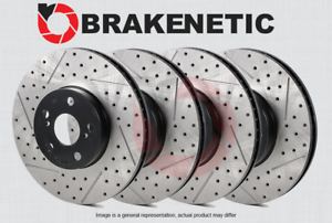 FRONT + REAR BRAKENETIC PREMIUM Drilled Slotted Brake Disc Rotors BPRS35835