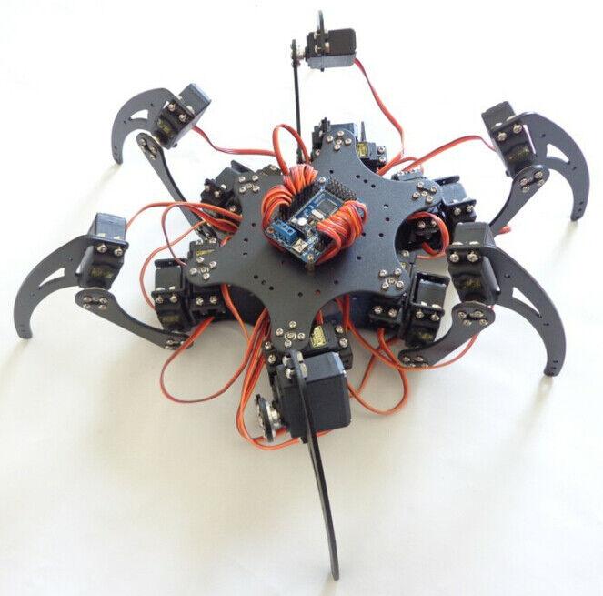 18DOF robot hexápodo robótica Araña de seis patas Kit de Marco Sin Control Remoto