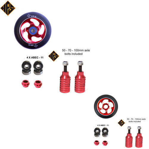 RED SET STUNT SCOOTER METAL CORE WHEELS 100mm ABEC 11 BEARING PEGS 3 AXLES 110