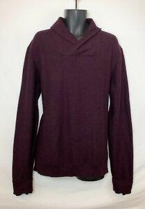 H-amp-M-Men-039-s-Burgundy-LS-Ribbed-Sweater-w-Fold-Over-Collar-Black-Detail-Sz-XL-NWOT