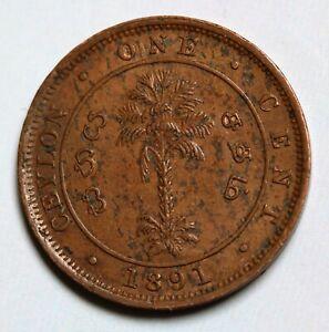 1891-Ceylon-1-Cent-Coin-Q-Victoria-KM-92