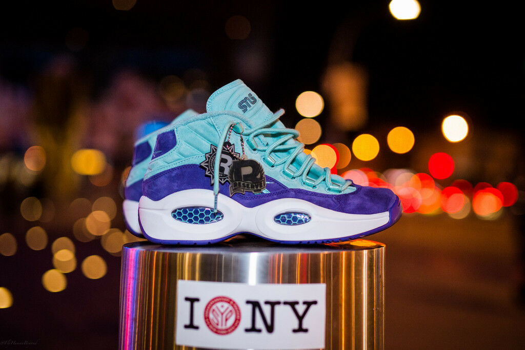 REEBOK QUESTION MID IVERSON SNS X PACKER SHOES SZ 4-13 TOKEN 38 TEAL PURPLE NYC