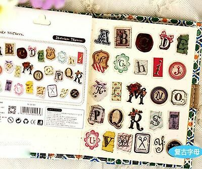 Set of 78pcs Vintage letter postmark craft character flake stickers Scrapbooking
