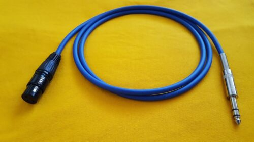 """to 1//4/"""" TRS Stereo Balanced Audio Cable Blue 15 ft female Mogami 2549 XLR-F"""