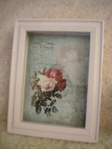 Shabby Chic Vintage Paris / Roses Wood Shadow Box