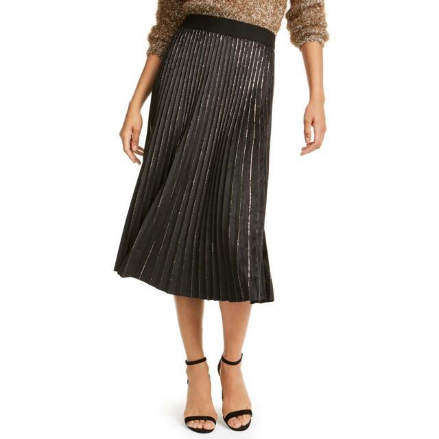 Lucy Paris Womens Metallic Pleated Cocktail Midi Skirt BHFO 6927