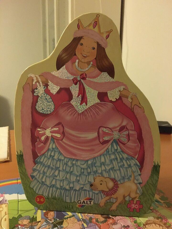 Puslespil med glimmer i prinsesseæske. , Galt foil puzzel,