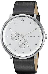 Skagen SKW6248 Silver Tone Dial Black Leather Strap Men's Watch Brand New in Box