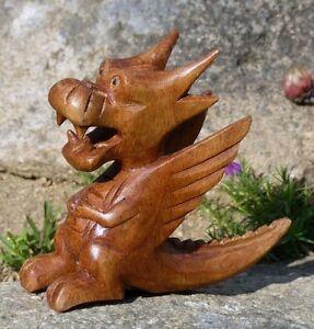 kleiner lustiger drache holz tier dragon figur kinder spielzeug ktier48 ebay. Black Bedroom Furniture Sets. Home Design Ideas