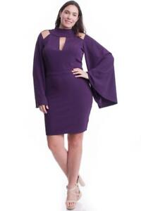 Purple-High-Neck-Open-Shoulder-Statement-Trumpet-Sleeve-244-mv-Dress-1XL-2XL-3XL