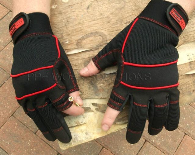Work Gloves 12 Pairs Large Rubber gripped Fingerless Cotton Garden Lot