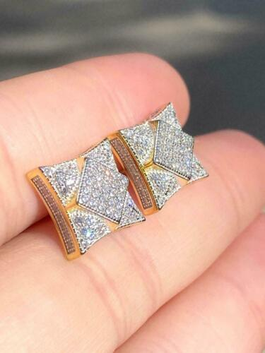 Details about  /Men/'s Square Stud Earring 1 ct White Round Sim Diamond 14K Yellow Gold Finish