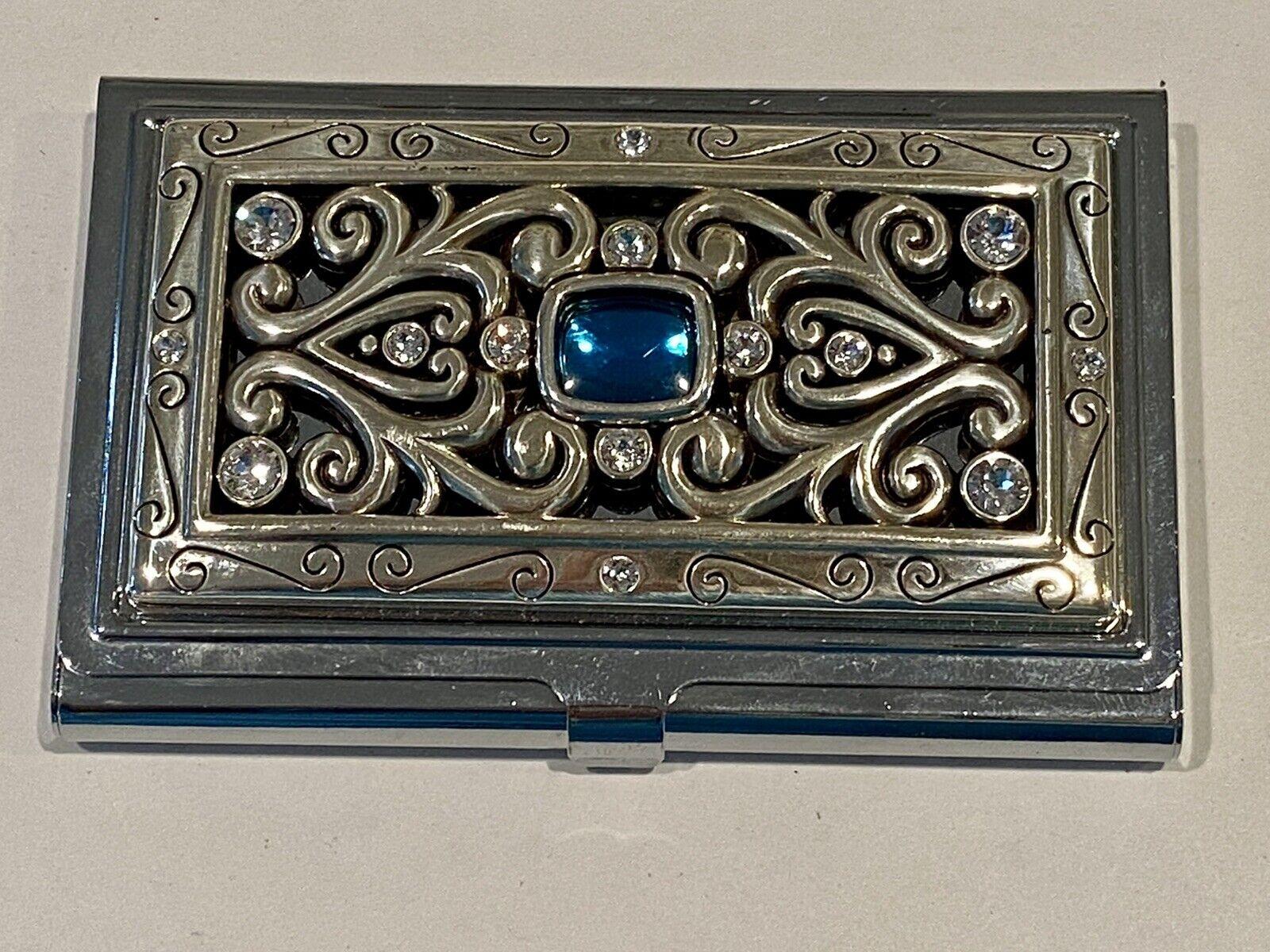 BRIGHTON Silver Blue & Clear Jewels Rhinestones Metal Business Card Case