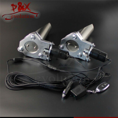 """2x 2.5/"""" 63mm Electric Stainless Exhaust Cutout Cut Pipe with Remote control Kit"""