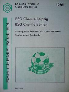 RW Erfurt Programm 1980//81 BSG Chemie Böhlen